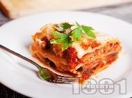 Вегетарианска лазаня с патладжан, сирене моцарела и бешамелов сос